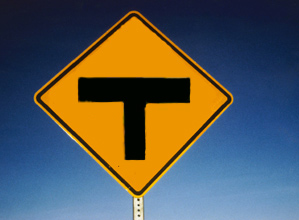 T road sign