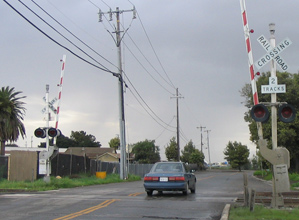 Railroad crossing gate signals
