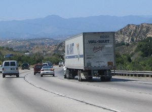 Wal-Mart truck on highway